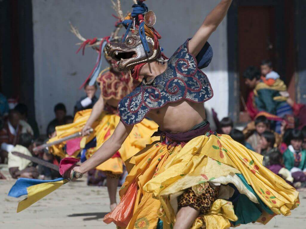 Traditional Bhutanese Masked Dancers