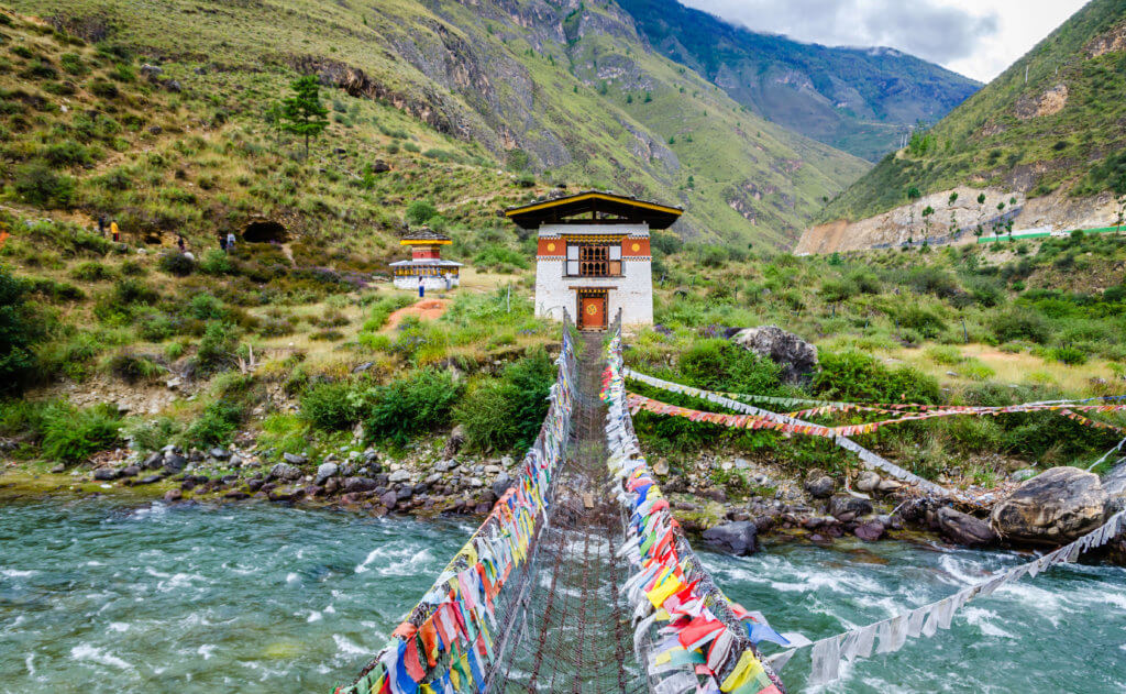 Iron Chain Bridge of Tachog Lhakhang Monastery, Paro River, Bhutan