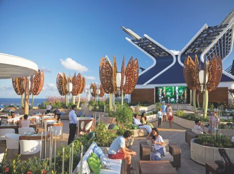 Celebrity Edge, EG, Rooftop Garden, day, public spaces, dining, entertainment, plants, x smoke stack,