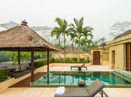 Garden terrace, swimming pool and views of Borobudur and rice paddies