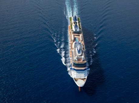 Celebrity Equinox, EQ, Celebrity Revolution, ship exterior, aerials, at sea, open water, blue hull, painted