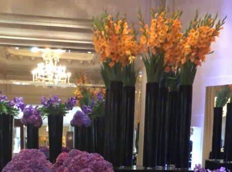 Flowers in the hallway by the bar