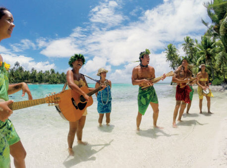The Gauguines sing island tunes on Motu Mahana.