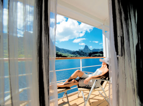 Nearly 70% of the suites and staterooms on The Gauguin feature a balcony.