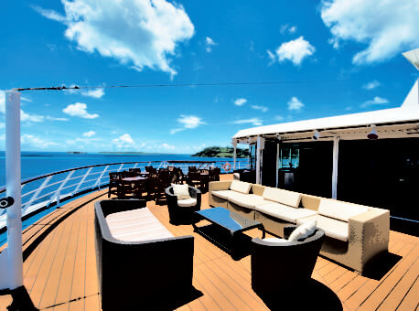 Used for continental breakfast and afternoon tea, this spectacular observation lounge atop the ship is transforms into a nightclub with an indoor/outdoor dance floor.