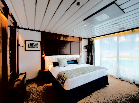 Owner's Suite 701 features Butler Service and can accommodate up to 4 guests by adding 2 berths with cribs or roll-aways.Bathroom includes a separate shower and a dressing area.