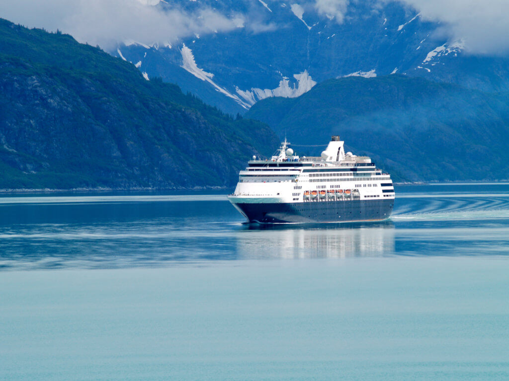 Cruise Ship sailing through Alaska