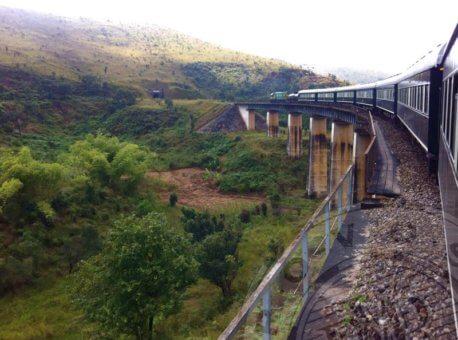 Rovos Rail train crossing bridge