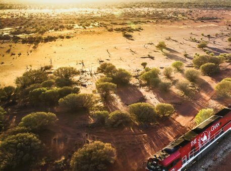 The-Ghan-heading-north-leaving-Marla-just-after-sunrise
